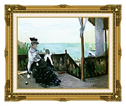 Berthe Morisot In A Villa At The Seaside canvas with museum ornate gold frame