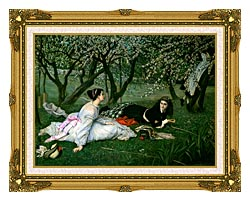 James Tissot Le Printemps canvas with museum ornate gold frame
