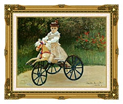 Claude Monet Jean Monet On His Horse Tricycle canvas with museum ornate gold frame
