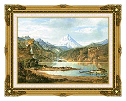 John Mix Stanley Mountain Landscape With Indians canvas with museum ornate gold frame