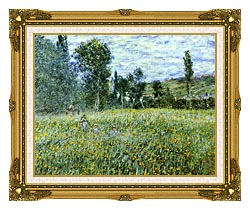 Claude Monet A Meadow Outside Vetheuil canvas with museum ornate gold frame