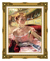 Mary Cassatt Lydia In A Loge Wearing A Pearl Necklace canvas with museum ornate gold frame