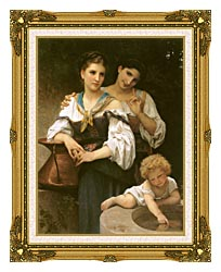 William Bouguereau The Secret canvas with museum ornate gold frame