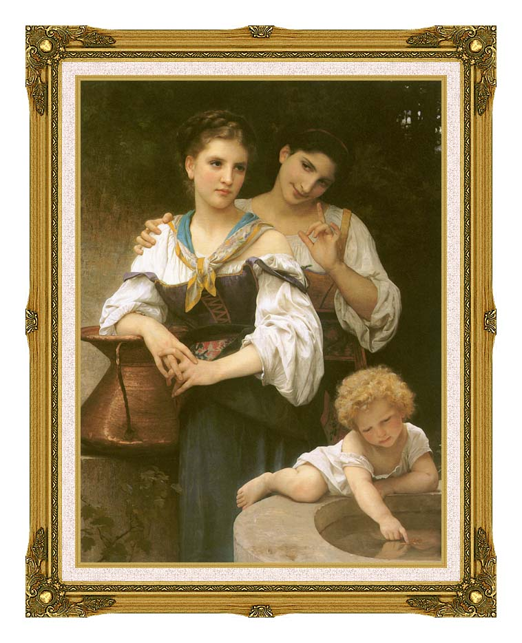 William Bouguereau The Secret with Museum Ornate Frame w/Liner