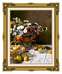 Claude Monet Still Life Flowers And Fruit canvas with museum ornate gold frame