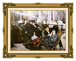 James Tissot The Last Evening canvas with museum ornate gold frame