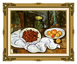 Paul Cezanne Still Life With Cherries And Peaches canvas with museum ornate gold frame