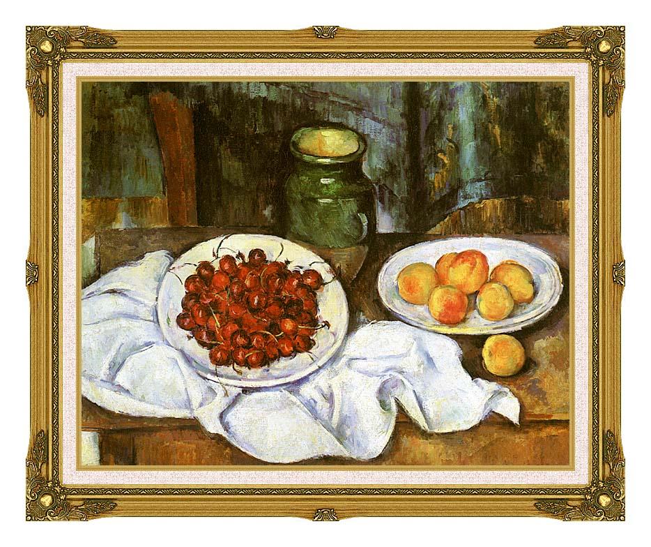 Paul Cezanne Still Life with Cherries and Peaches with Museum Ornate Frame w/Liner