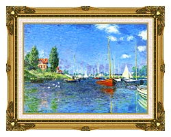 Claude Monet Red Boats Argenteuil 1875 canvas with museum ornate gold frame
