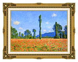Claude Monet Poppy Field canvas with museum ornate gold frame