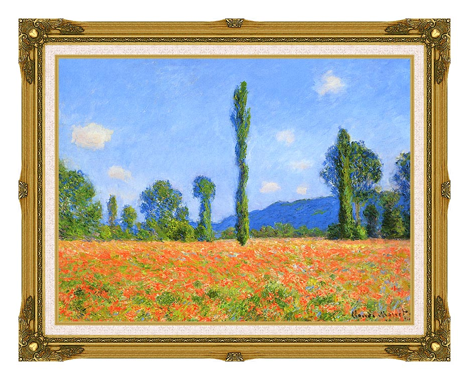 Claude Monet Poppy Field with Museum Ornate Frame w/Liner