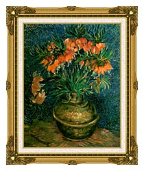 Vincent Van Gogh Fritillaries In A Copper Vase canvas with museum ornate gold frame