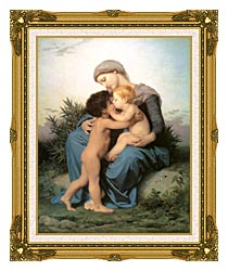William Bouguereau Fraternal Love canvas with museum ornate gold frame