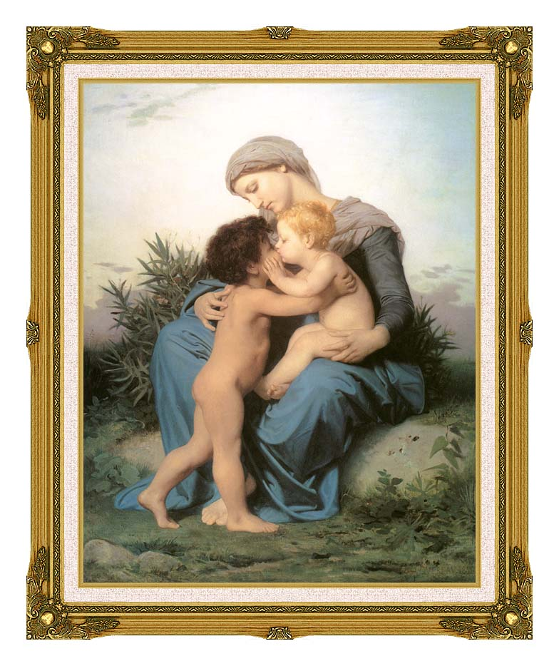 William Bouguereau Fraternal Love with Museum Ornate Frame w/Liner
