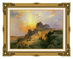 Thomas Moran Hopi Village Arizona canvas with museum ornate gold frame