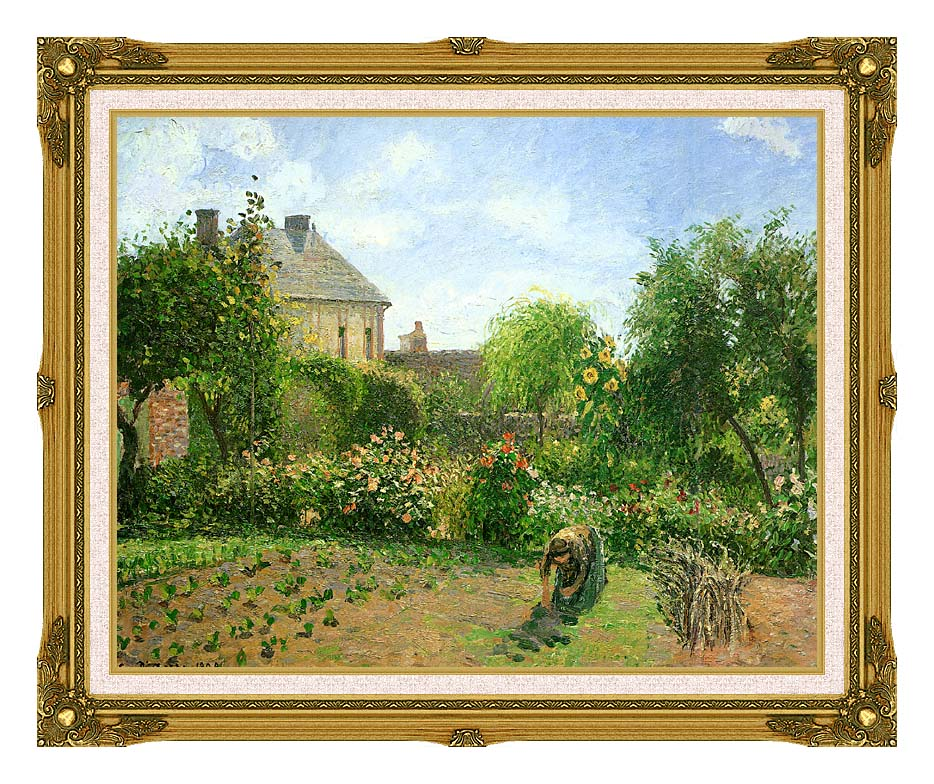 Camille Pissarro The Artist's Garden at Eragny 1898 with Museum Ornate Frame w/Liner