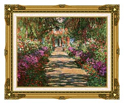 Claude Monet Main Path Through The Garden At Giverny Detail canvas with museum ornate gold frame