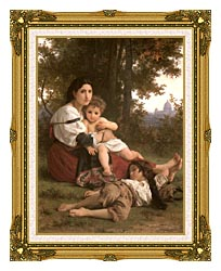 William Bouguereau Rest canvas with museum ornate gold frame