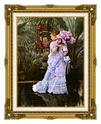 James Tissot The Bunch Of Lilacs canvas with museum ornate gold frame