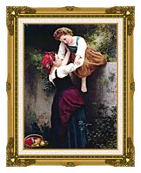 William Bouguereau Little Marauders canvas with museum ornate gold frame