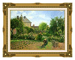 Camille Pissarro The Artists Garden At Eragny canvas with museum ornate gold frame