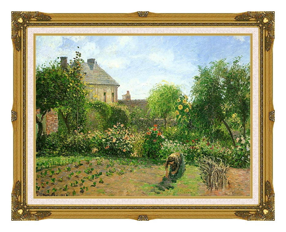 Camille Pissarro The Artist's Garden at Eragny with Museum Ornate Frame w/Liner