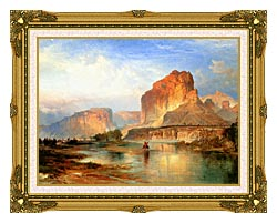 Thomas Moran Cliffs Of Green River canvas with museum ornate gold frame