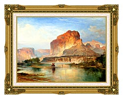 Thomas Moran Cliffs Of Green River 1874 Detail canvas with museum ornate gold frame