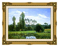Claude Monet View From Rouelles Monets First Painting canvas with museum ornate gold frame