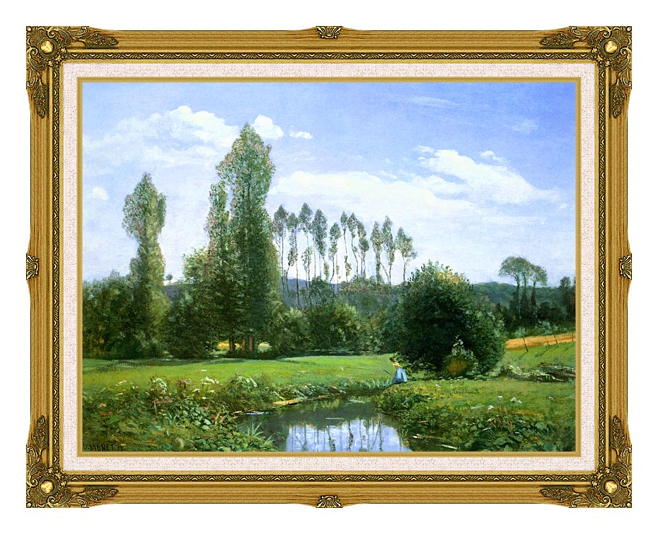 Claude Monet View from Rouelles (Monet's First Painting) with Museum Ornate Frame w/Liner