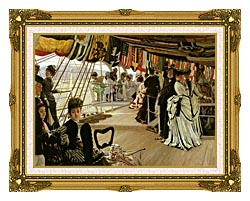 James Tissot The Ball On Shipboard canvas with museum ornate gold frame