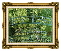Claude Monet Water Lily Pond Harmony In Green canvas with museum ornate gold frame