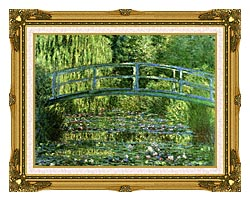 Claude Monet Water Lily Pond Harmony In Green Detail canvas with museum ornate gold frame