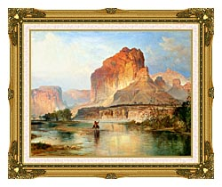 Thomas Moran Cliffs Of Green River Detail canvas with museum ornate gold frame