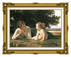 William Bouguereau Temptation canvas with museum ornate gold frame