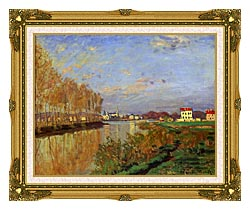 Claude Monet The Seine At Argenteuil Vanilla Sky canvas with museum ornate gold frame