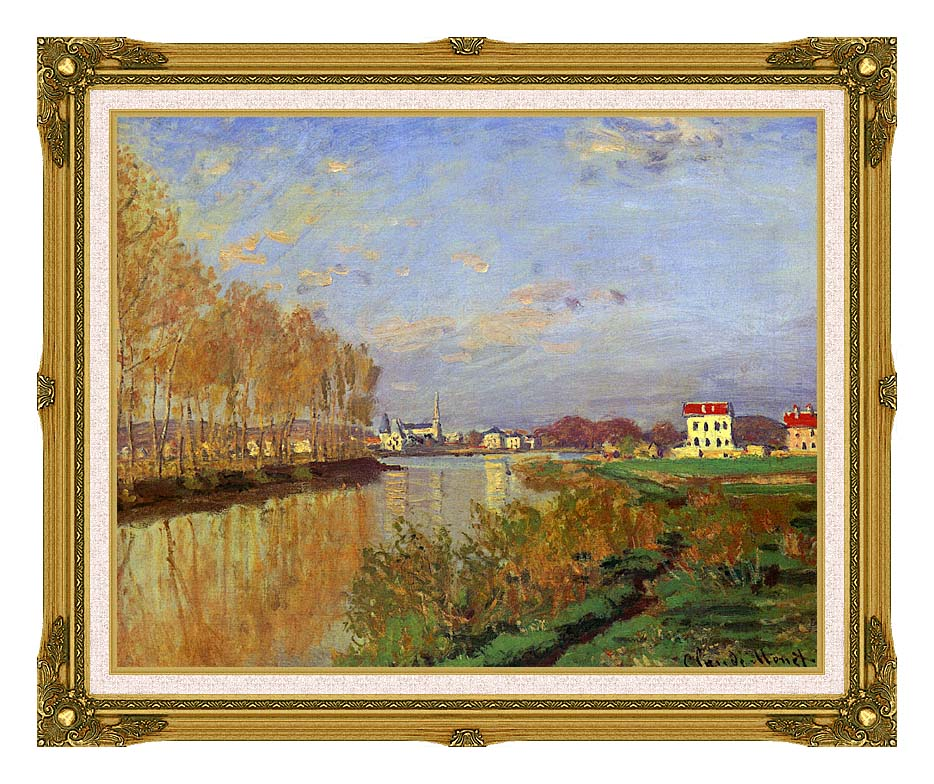 Claude Monet The Seine at Argenteuil (Vanilla Sky) with Museum Ornate Frame w/Liner