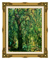Claude Monet Weeping Willow Detail canvas with museum ornate gold frame