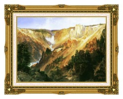 Thomas Moran Lower Falls Of The Yellowstone canvas with museum ornate gold frame