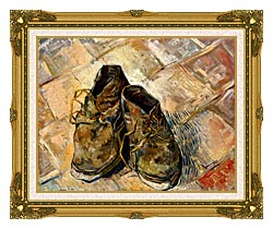 Vincent Van Gogh A Pair Of Old Shoes canvas with museum ornate gold frame