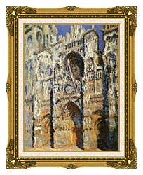 Claude Monet Rouen Cathedral The Portal And The Tour Sainte Romain Full Sunlight Harmony In Blue And Gold canvas with museum ornate gold frame