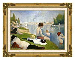 Georges Seurat Bathers At Asnieres canvas with museum ornate gold frame