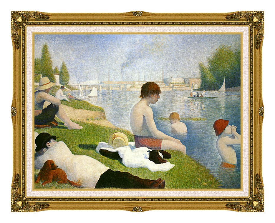 Georges Seurat Bathers at Asnieres with Museum Ornate Frame w/Liner