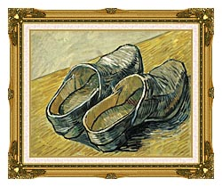 Vincent Van Gogh A Pair Of Leather Clogs canvas with museum ornate gold frame