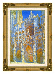Claude Monet Rouen Cathedral Sunlight Effect canvas with museum ornate gold frame