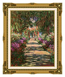Claude Monet Main Path Through The Garden At Giverny Portrait Detail canvas with museum ornate gold frame