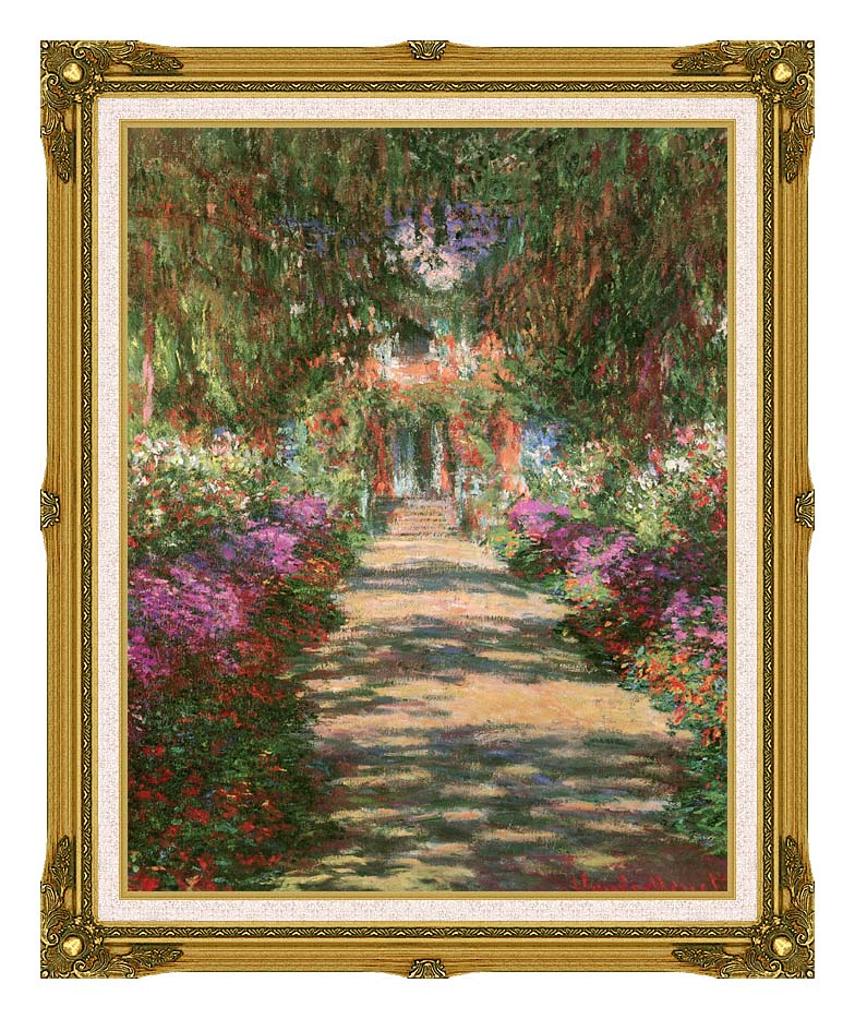 Claude Monet Main Path through the Garden at Giverny (portrait detail) with Museum Ornate Frame w/Liner