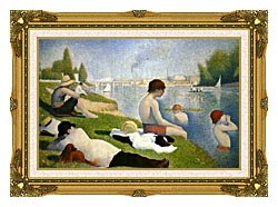 Georges Seurat Bathers At Asnieres Detail canvas with museum ornate gold frame