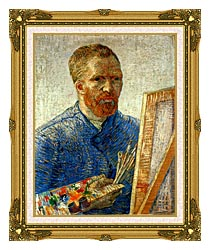 Vincent Van Gogh Self Portrait As An Artist canvas with museum ornate gold frame