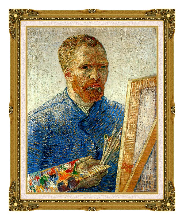 Vincent van Gogh Self Portrait as an Artist with Museum Ornate Frame w/Liner